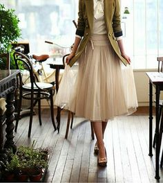 soft vintage skirt paired with a more masculine jacket, perfection!