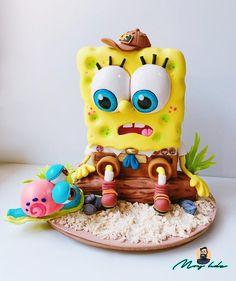 Spongebob Birthday Party, Cool Birthday Cakes, Baby Boy Cakes, Cakes For Boys, Cupcakes, Cupcake Cakes, Spongebob Chocolate, Fondant Cake Designs, Gravity Cake