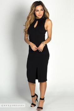 """Samicca"" Black Keyhole High Neck Sleeveless Jersey Midi Dress"