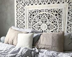 Items similar to King Size Reclaimed Wood Headboards, Decorative Carved Wall Art Made of Teak Wood from X inch,You can select color ) on Etsy Modern Moroccan Decor, Moroccan Decor Living Room, Morrocan Decor, Living Room Decor, Bedroom Decor, Moroccan Bed, Bedroom Ideas, Master Bedroom, King Bed Headboard