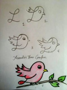 Step by Step drawing tutorials and drawing lessons for kids of all ages. Art Drawings For Kids, Bird Drawings, Doodle Drawings, Drawing For Kids, Animal Drawings, Doodle Art, Cute Drawings, Learn Drawing, Easy Drawings Of Animals