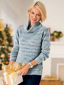 Ombre Cowl-Neck Pullover | Classic Fashion for Mature Women