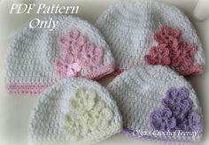 Beginner Level Crochet Baby Hat with Three Flowers Pattern