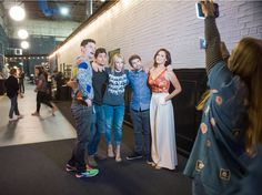 1:20 p.m.: Handler takes a photo with social influencers and that day's show guests, (from left) Flula, Anthony Padilla, Ian Hecox, and Mamrie Hart.