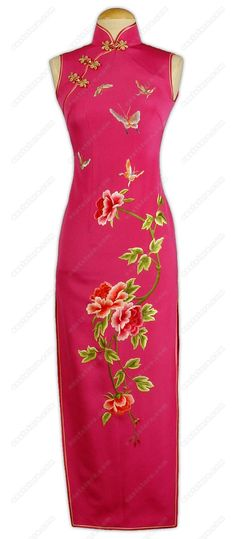Gracious Dancing Butterflies and Blooming Peony Silk Cheongsam