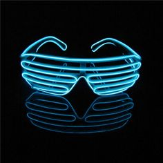 6f9f29623c New Blue Neon El Wire LED Light Up Shutter Glasses Glass + Standard  Controller