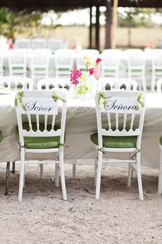 Tropical Beach Wedding Bride & Groom Chairs from A Brit & A Blonde - mazelmoments.com