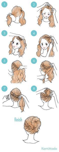 Tutorial de penteado de trança embutida frontal e finalização em coque.