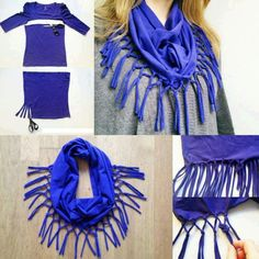 Recycled old T-shirts and sweater DIY scarves ideas. You need some old clothes like, old T-shirts, old Sweaters, for making fashionable accessories for your T Shirt Recycle, T Shirt Diy, Sew Tshirt, Reuse Recycle, Upcycle, Reduce Reuse, Recycling, Diy Scarf, Scarf Shirt