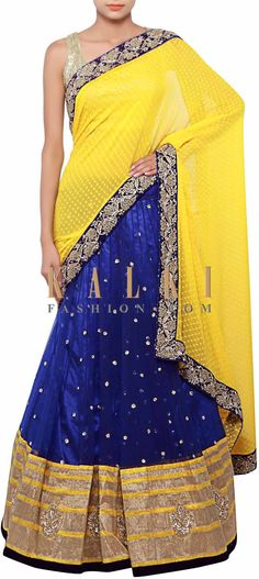 Buy Online from the link below. We ship worldwide (Free Shipping over US$100) http://www.kalkifashion.com/half-and-half-saree-in-blue-and-yellow-adorn-in-sequin-and-zardosi-embroidery-only-on-kalki.html