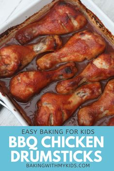 These sticky and sweet BBQ chicken drumsticks are a delicious family dinner kids will love. With a delicious BBQ marinade they are perfect for a summer BBQ or picnic. #baked bbq #recipe #easy #dinner #recipes oven #oven baked #bbq #oven bbq recipe bbq #chicken #easy dinner #oven dinner Easy Kid Friendly Dinners, Easy Family Dinners, Healthy Meals For Kids, Kid Meals, Healthy Children, Children Health, Easy Summer Dinners, Quick Easy Meals, Simple Meals