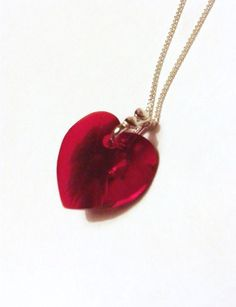 Red Swarovski Crystal Heart Necklace with by TwinklePlanet on Etsy