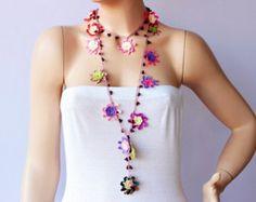 Beadwork necklace crochet beaded lariat necklace oya by SenasShop