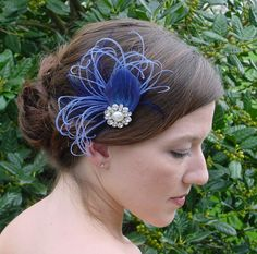 Shades of Blue Feather Fascinator Headpiece Made to by AnnLeslie, $45.00
