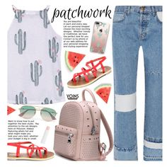 Yoins All Patched Up: Patchwork by beebeely-look on Polyvore featuring moda, Current/Elliott, Gucci, Casetify, Barry M, Cactus, patchwork, patch, summersandals and yoinscollection
