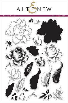 """ALTENEW: Peony Bouquet (6""""x 8"""" Clear Photopolymer Stamp Set) This package contains Peony Bouquet: twenty four indivodual image stamps. *FREE SHIPPING ON THIS ITEM*"""