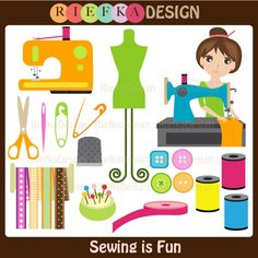 Sewing is Fun Clipart. $6.00, via Etsy.