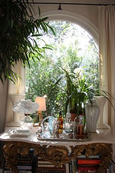 A bar vignette Hollywood Hills Homes, Hollywood House, Today Is A New Day, British Colonial Style, Bar Set Up, Interior Decorating, Interior Design, Decorating Ideas, Decoration Table