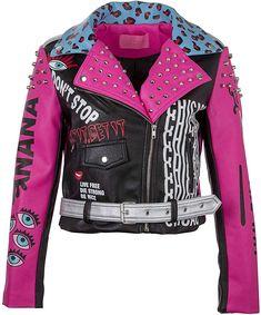 Women's Pink Leopard Animal Print Faux Leather Studded Graffiti Look Punk Biker Moto Jacket Punk Outfits, Cool Outfits, Fashion Outfits, Punk Fashion, Girl Fashion, Fashion Design, Moto Jacket, Leather Jacket, Punk Jackets