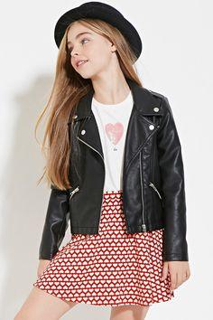 Girls Heart-Print Skirt (Kids) | Forever 21 girls - 2000185792