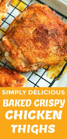 Baked Crispy Chicken Thighs - Immaculate Bites loaded with flavor and super easy to make with only 10 minutes prep time PLUS other homemade seasoning variation to try. You won't believe they are baked! Dinner couldn't be any easier. Chicken Legs And Thighs Recipe, Chicken Thighs Dinner, Keto Chicken Thigh Recipes, Crispy Baked Chicken Thighs, Chicken Thights Recipes, Crispy Chicken Recipes, Filet Recipes, Meat Recipes, Dinner Recipes