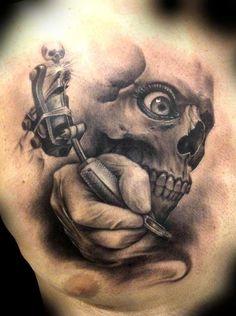 Realistic skull and tattoo machine tattoo on chest tattoo татуировки, . Tatto Skull, Demon Tattoo, Sick Tattoo, Skull Tattoo Design, Tattoo On, Tatoo Art, Chest Tattoo, Piercing Tattoo, Piercings
