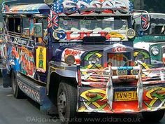Jeepneys are kings of the roads, unique and colorful.