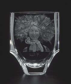 Moser Glass - Veronica 2746, hand cut and engraved vase, motif Fall Meadow