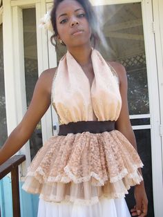 Blush pink and Chocolate Brown Waist Gold Sequin Bridesmaid Party Halter dress. $58.00, via Etsy.