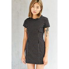 Lucca Couture Windowpane Collared Dress ($40) ❤ liked on Polyvore featuring dresses, black multi, short dresses, short sleeve black dress, short black dresses, wet look dress and mini dress