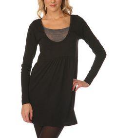 This Black Sheer Jersey Empire-Waist Dress by Kavio! is perfect! #zulilyfinds