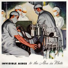 Vintage illustration of staff at work in an operating room (April 1945).