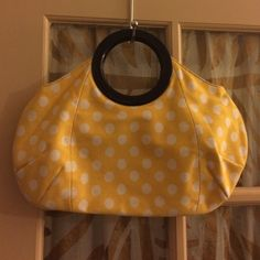 J.CREW yellow white black Polka dot purse NWOT  Style 91748 RN77388 made in China 100% cotton super cute purse NEW without retail tags magnetic snap enclosure and cute acrylic black loop handles inside zipper pocket and out side slip pouch J. Crew Bags