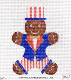 Gingerbread Uncle Sam Needlepoint Ornament  Jody by JODYdirect, $40.00