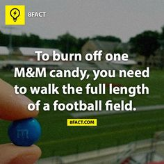 To burn off an M you'll need to walk the full lenght of a football field!! How many M & M's are you having today???