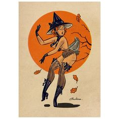 I've purchased some of her work…and it's amazing! Halloween Pin Up, Vintage Halloween, Pin Up Girl Vintage, Vintage Art, Dibujos Pin Up, Spooky Tattoos, Nose Art, Vintage Cartoon, Pin Up Art