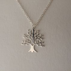 Tree of Life Long Sterling Silver Necklace, Tree of Life Pendant, Sterling…