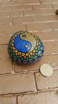 Yin Yang pebble yin yang symbol yin yang art rock by RockByVicki Pebble Painting, Stone Painting, Rock Painting, Art Zen, Yin Yang Art, Sticks And Stones, Natural Home Decor, Rock Art, Painted Rocks