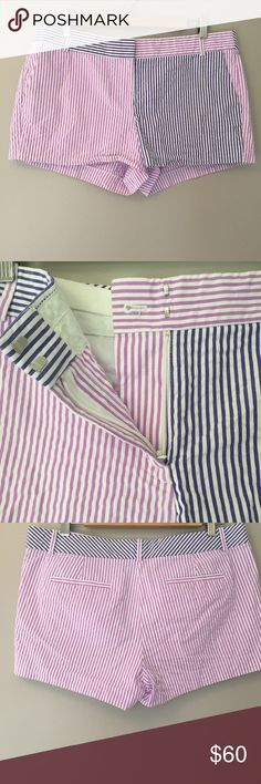 """JCrew colorblock stripe purple seersucker 3"""" short Preppy perfection! Comfy cotton seersucker shorts in shades of purple that sit just above the hip. Missing inside button but otherwise in excellent condition.  Approximate flat lay measurements: Inseam: 3"""" Waist flat lay : 17.5"""" A J. Crew Shorts"""