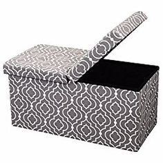 Otto and Ben 30-in SMART LIFT TOP Upholstered Ottoman Storage Bench – Moroccan Grey feat. cushioned seating with hidden storage / center folding lid
