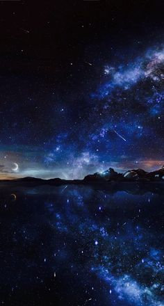 Image shared by munggu. Find images and videos about blue, nature and sky on We Heart It - the app to get lost in what you love. Night Sky Wallpaper, Scenery Wallpaper, Landscape Wallpaper, Dark Wallpaper, Galaxy Wallpaper, Wallpaper Samsung, Beautiful Nature Wallpaper, Beautiful Sky, Beautiful Landscapes