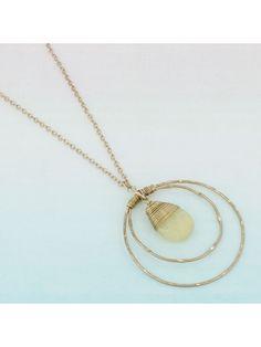 www.ewam.com Goldtone Double Hoop Wire-Wrapped Light Yellow Teardrop Bead Pendant Necklace