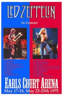 Robert Plant, Jimmy Page Led Zeppelin at Earls Court Arena Concert Poster 1975