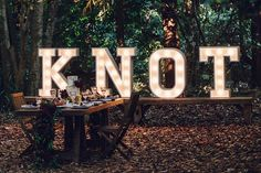 """Tied the Knot"" marquee letter lights for your wedding reception 
