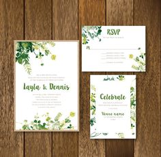Spring and Summer Watercolor Leaves Wedding Invitation Suite