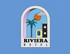 hotel branding Riviera Hotel - Brand identity on Behance Graphic Design Posters, Graphic Design Illustration, Graphic Design Inspiration, Digital Illustration, Graphic Art, Identity Art, Identity Design, Logo Design, Brand Identity