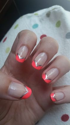First summery manicure of the year! Neon tips and silver lining - Imgur
