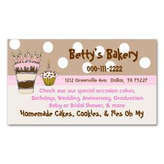 Trendy Pink and Brown Bakery Business Card. I love this design! It is available for customization or ready to buy as is. All you need is to add your business info to this template then place the order. It will ship within 24 hours. Just click the image to make your own!