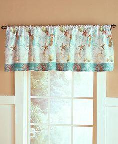 NEW Coastal Sealife Bathroom Seashell Starfish Window Curtain Valance