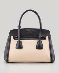 Prada Canvas Saffiano Cuir Small Tote Bag Natural Black Prada